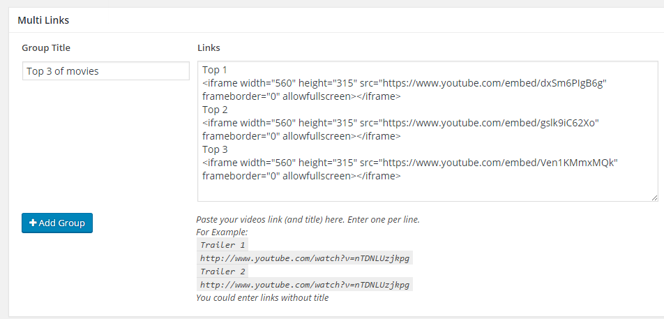 Embed code in Multi links for Video posts