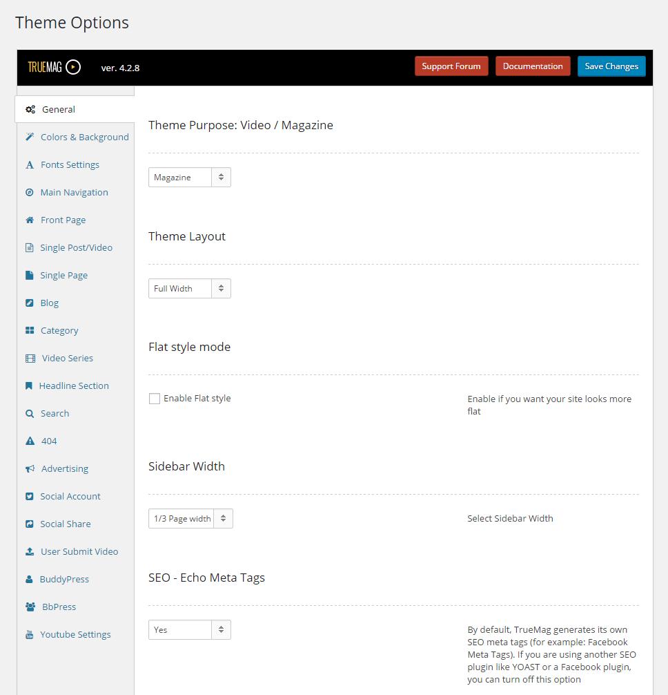 TrueMag Theme Options-Short